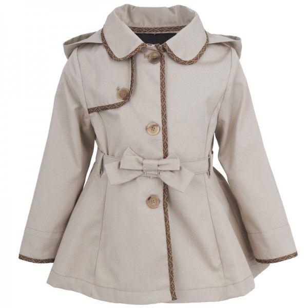 Fendi Beige Zucca Trim Coat for little girl
