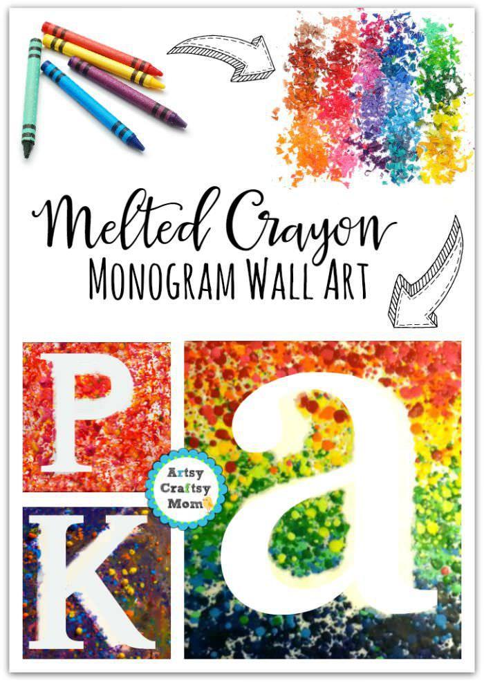 Melted crayon Monogram Wall Art , crayon shaving, rainbow art,