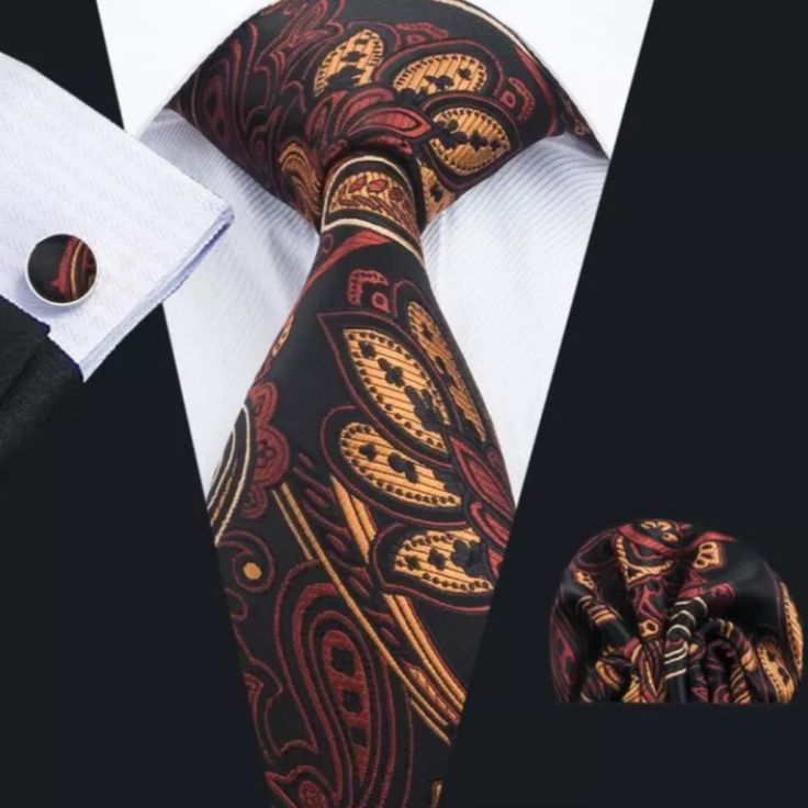 """This is a brand new men's silk tie set. Set includes coordinating tie, handkerchief and cuff link.    Tie length is 61"""" from end to end, and 3.25"""" width at the widest part of the tie.    **Please Note** This item requires three (3) weeks to ship.  Pleasetake the shipping time into consideration prior to placing your order. Thank you.    International shipping is available for this item.  