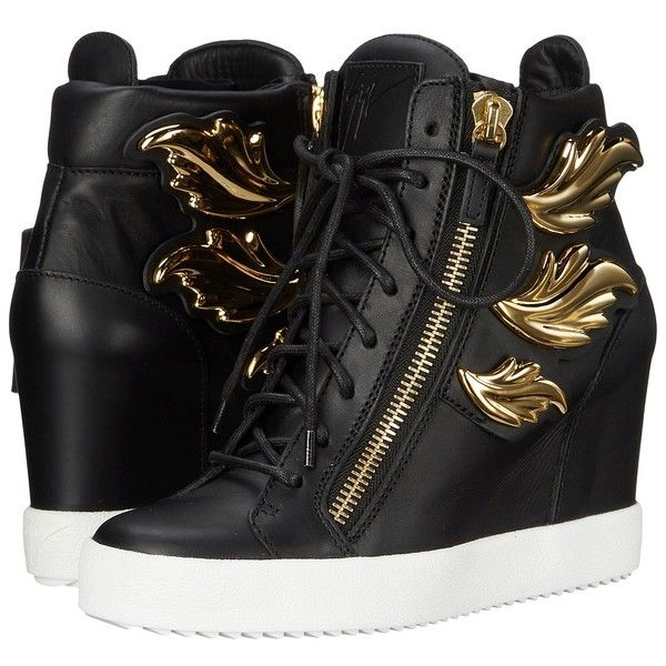 Giuseppe Zanotti Hi-Top Wedge Winged Sneaker Women's Wedge Shoes ($1,275) ❤ liked on Polyvore featuring shoes, sneakers, black, metallic wedge sneakers, metallic sneakers, black sneakers, black high-top sneakers and high top sneakers