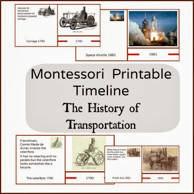 The History of Transportation in Printable cards. Montessori pritnables.