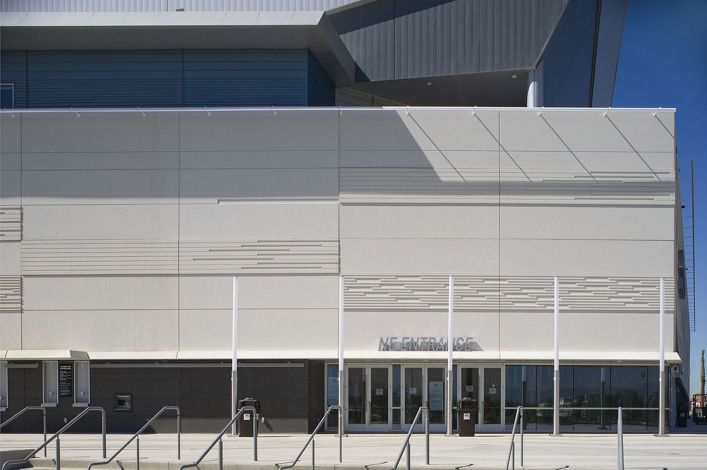 Ontario Event Center • The precast concrete panels were designed to create an elevation with a strong horizontal focus with the use of sharp, crisp lines that define the building. The design was accomplished with a series of raised and recessed reveals in the elevations, producing a dynamic sense of movement in the facade • Winner of PCI's 2009 Design Award for Best Stadium. Clark Pacific • California's Leader in Precast Concrete • Architectural Precast Panels, Precast Cladding, Precast…