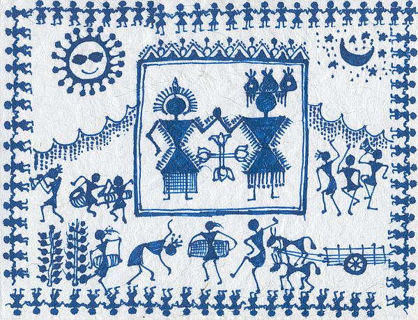 Warli Paintings Paintings Painting - Warli Wedding by Subhash Limaye