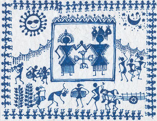 Warli Paintings Paintings Painting - Warli Wedding by Subhash Limaye