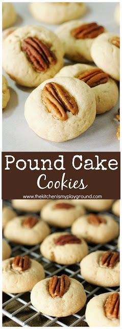 Pound Cake Cookies ~ Enjoy the tender texture & flavor of cream cheese pound cake in bite-sized form with these tasty little cookies! #poundcake #cookies #cookierecipes   www.thekitchenismyplayground.com