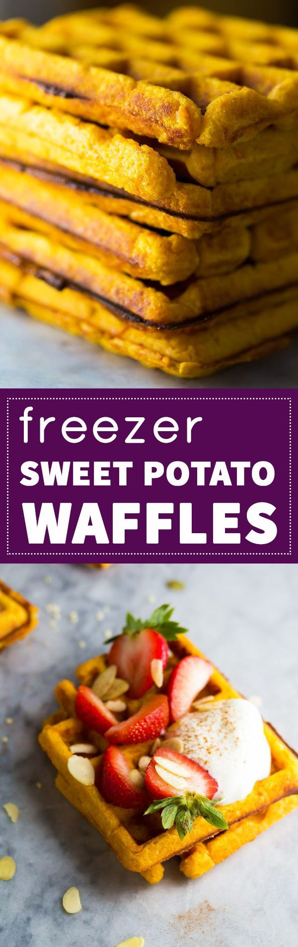 Freezer Sweet Potato Waffles ~ Make breakfast SO easy in the morning!  Plus 3 topping ideas.