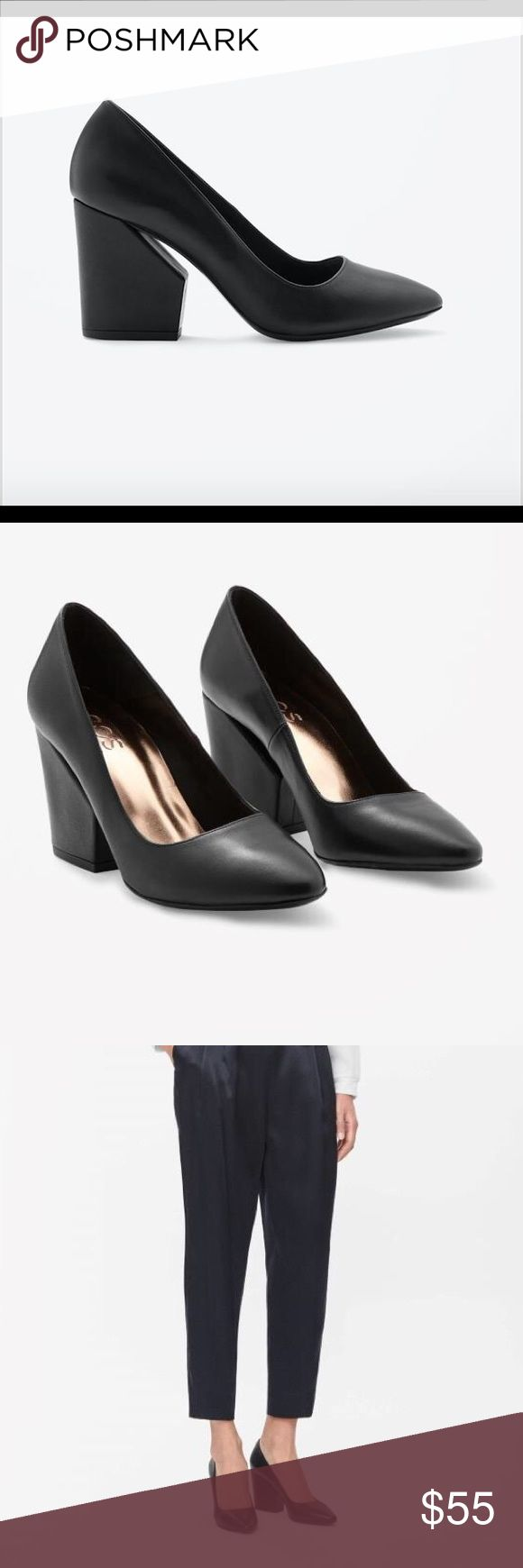 COS black leather heels shoes 36 EUR, 6 US Minimalist elegant shoes of Scandinavia brand COS, cozy and simple. Worn once. COS Shoes Heels
