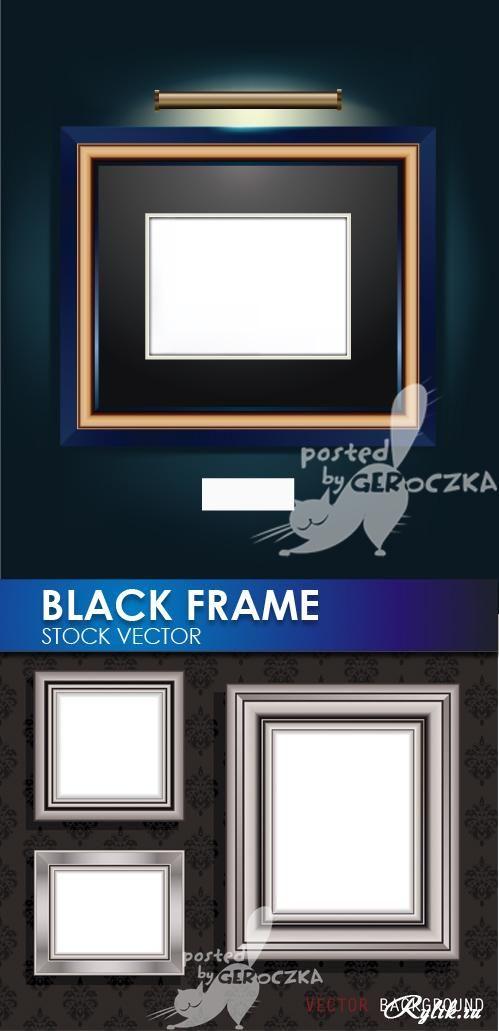 Серые и черные рамки для картин - векторный клипарт. BLACK FRAMES