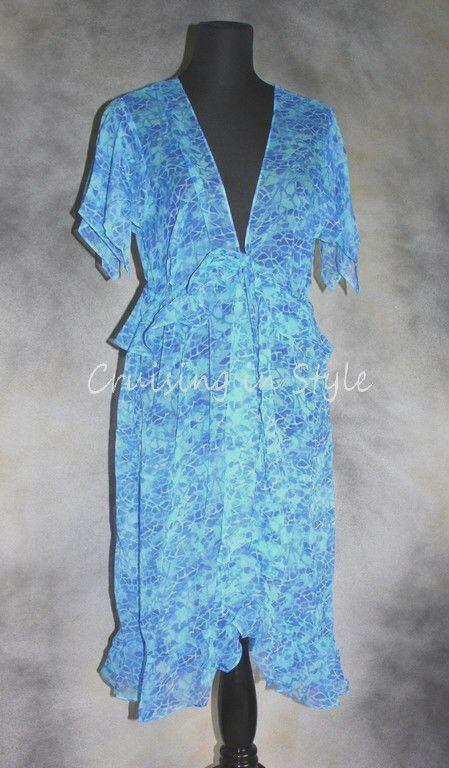 49ddfe3f0d4f3 Gottex NEW Swimsuit Cover up Caftan Blue Seychelles M 100% Silk Dress Wrap  $298 #Gottex #CoverUp