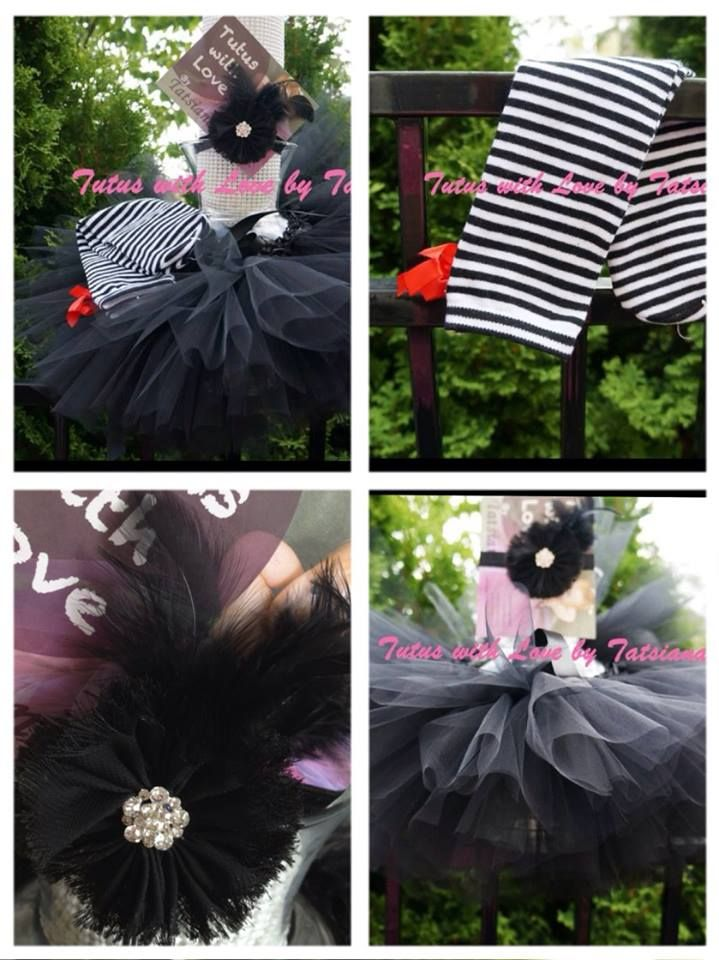 Black Elegance tutu set. Beautiful very fluffy skirt made from a soft tulle on the crotchet headband. Very Elegant flower headband with the bling and feathers. Matching colour leg warmers will give the outfit an extra touch.