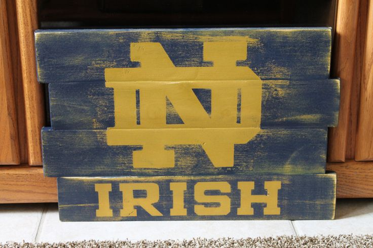 Notre Dame Fighting Irish Distressed Wood Sign by wintermountain, $32.00