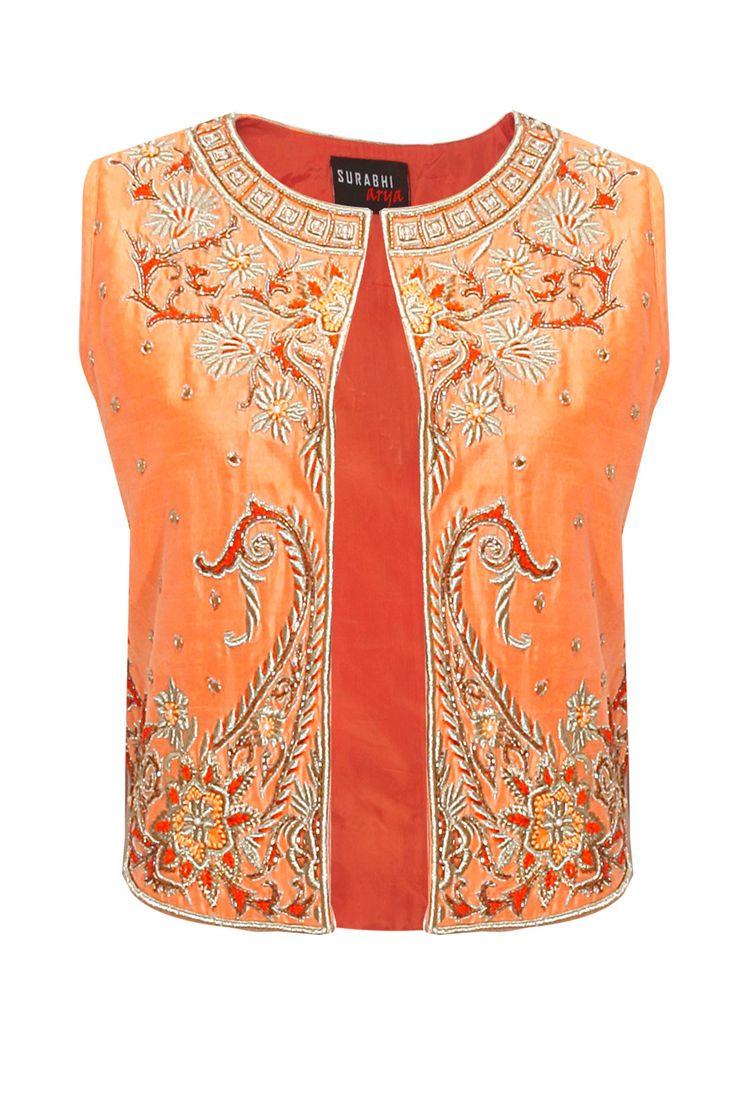 Light orange embroidered short jacket by Surbhi Arya. Shop at: www.perniaspopups... #jacket #surbhiarya #designer #chic #shopnow #perniaspopupshop #happyshopping.
