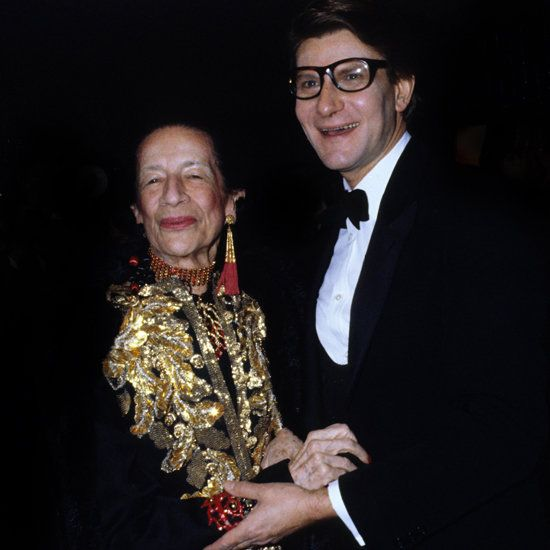 Diana Vreeland with YSL.  She did an exhibit of his work at the Met Costume Institute.  Designed by Jeff Daly