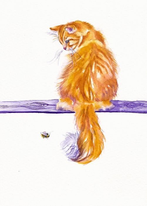 another of Debra Hall's watercolor cats looking at a bee.