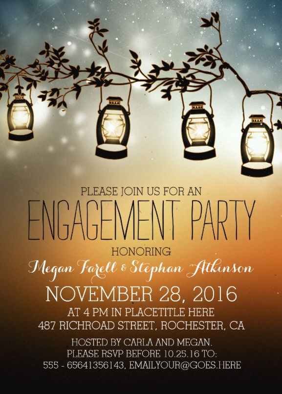"Garden lights engagement party invite 5"" x 7"" paper invitation card - Feature rustic lanterns on starry sky. Very romantic invitation. Customized online! More at http://superdazzle.com"