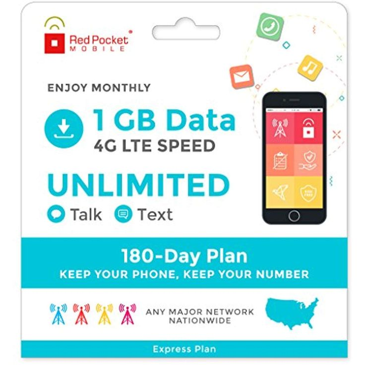 Red Pocket Mobile Express 180 Day Prepaid Phone Plan, No