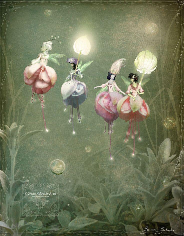 Fuchsia Flower Fairies by Susan Schroder -  Mythic Fantasy Fairy art print by SusanSchroderArts on Etsy https://www.etsy.com/listing/273644088/fuchsia-flower-fairies-by-susan-schroder