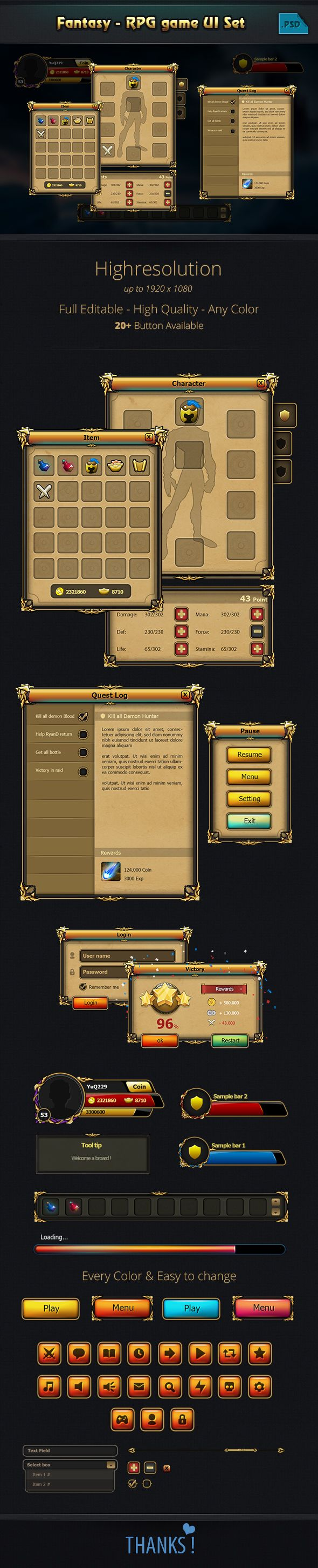 Fantasy - RPG Game GUi pack on Behance