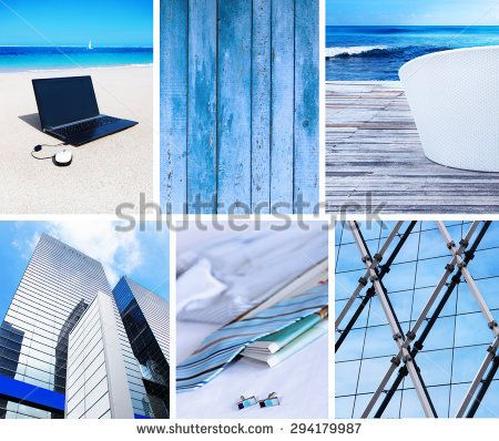 Collage of photos in blue colors