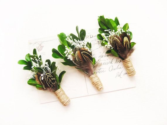 Woodland boutonniere Rustic wedding Men's lapel by NoonOnTheMoon