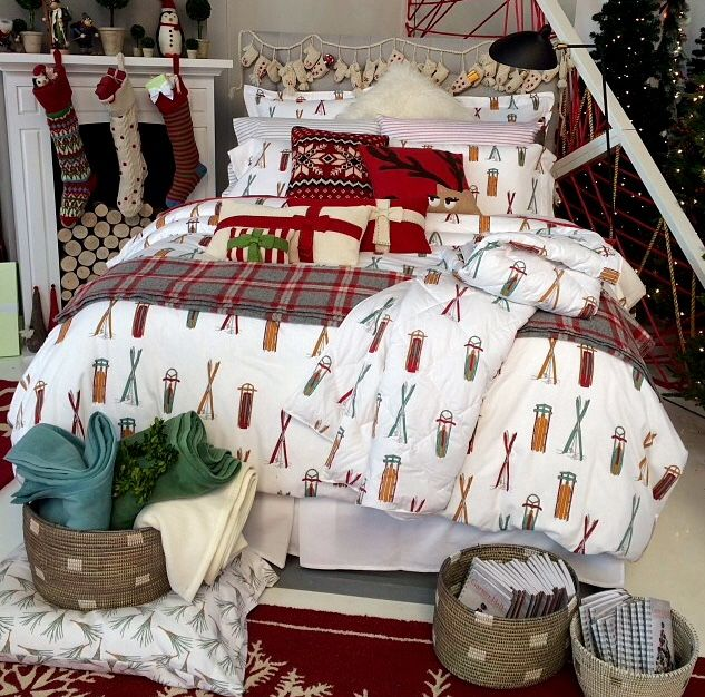 the garnet hill holiday collection featuring ski day flannel bedding designed by mwood