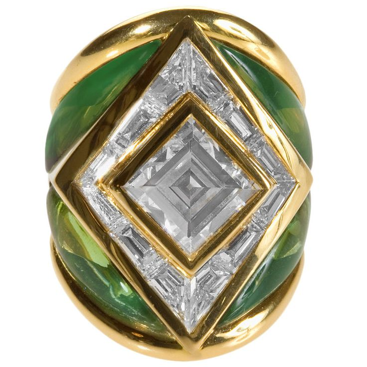 Spectacular Gold, Diamonds and Tourmaline Ring by Marina B.