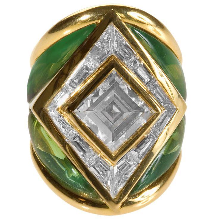 Spectacular Gold, Diamonds and Tourmaline Ring by Marina B.