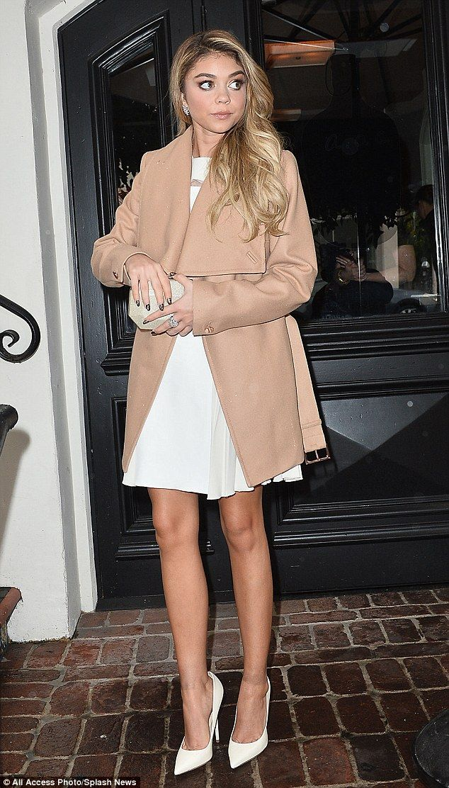 All the nuetrals: Modern Family star Sarah Hyland looked ever-so-chic in a luxurious camel...
