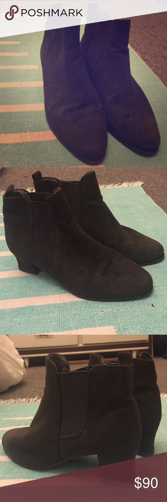 Vintage booties! Swede bootie with side elastics, mid heel. marks & spencer Shoes Ankle Boots & Booties