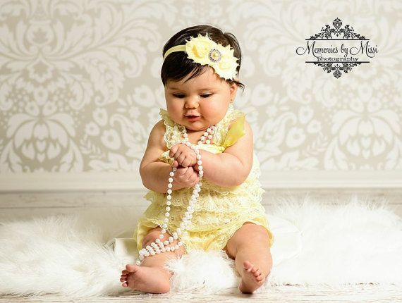 baby romper, Light Yellow Lace Petti Romper, rompers, baby girls Rompers, Photo props, newborn Rompers, Birthday outfit, wedding flower girl