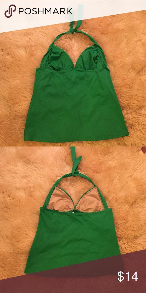 Ruched lido tankini top Green tankini top with halter tie. EUC worn twice. Looks brand new. J. Crew Swim Bikinis