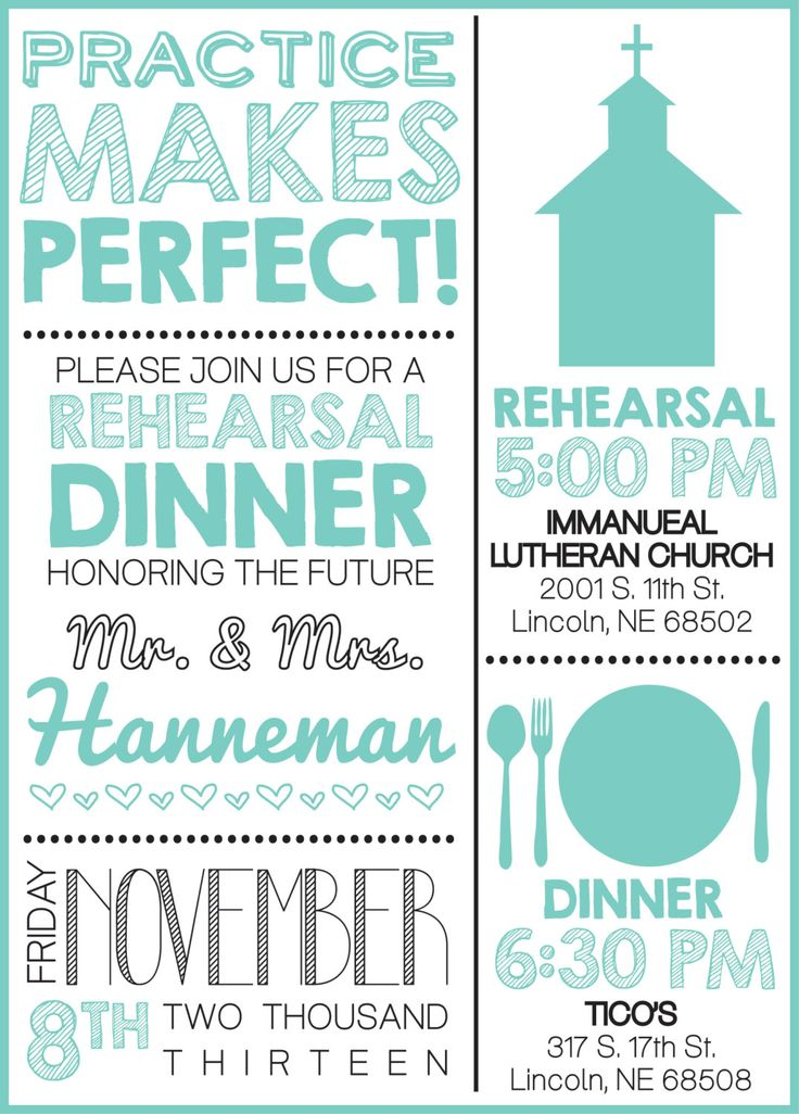 Fun idea for a rehearsal dinner invitation. Don't forget about this important pre-wedding event!