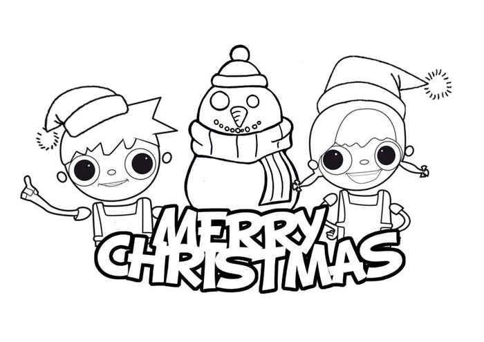 Cute Merry Christmas Coloring Pages. (Dengan gambar)