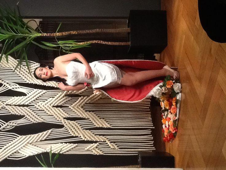 "Rose Noir modelling the wearable art creation ""flora"" designed by Kim Byrnes...ie me :)"