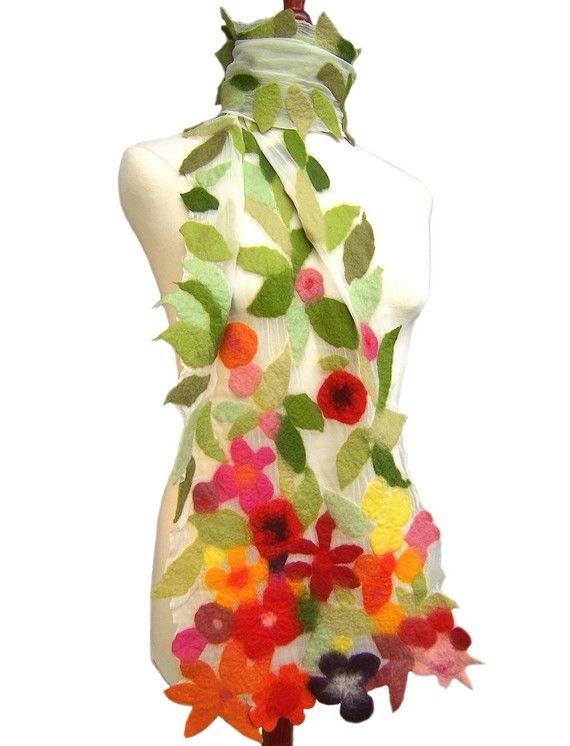 Felt Scarf With Flowers Nuno Felt Scarf by AVAoriginal on Etsy, €190.00? Makes me think of Spring!