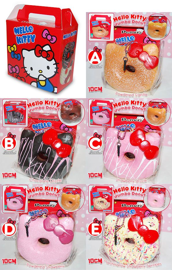 All of them.... I want all of them. Hello Kitty Jumbo Donut Squishy Scented with Box Package