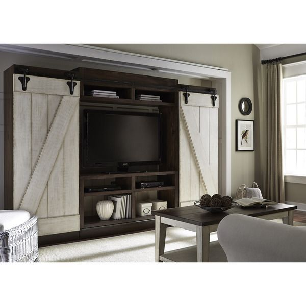 Lancaster Weathered Bark and White Entertainment Center with Piers | Overstock.com Shopping - The Best Deals on Entertainment Centers