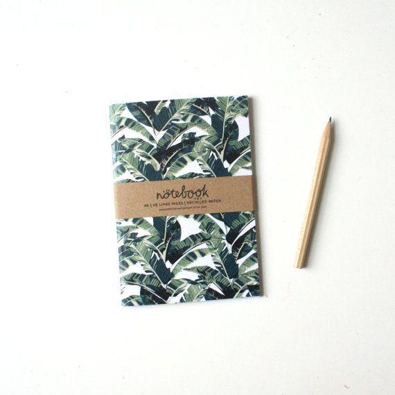 A6 notebook: banana leaf pattern lined by bowsandarrowsdesign