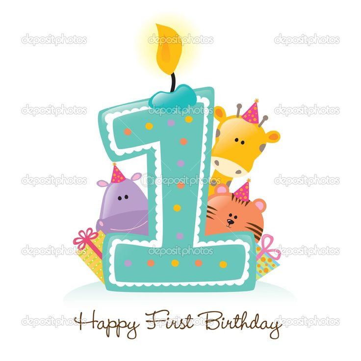 1st birthday | Happy First Birthday candle and animals | Stock Vector © Abraham ...