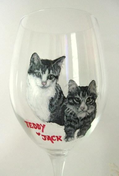 Painted Cats Wine Glass Pet Loss Memorial Painting Custom