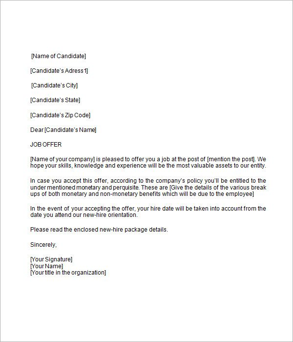 Job Offer Letter Template Job Offer Letter Template Word Lettering