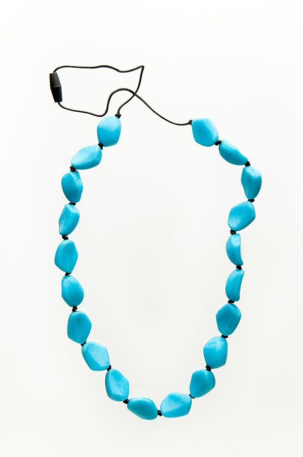 Turquoise breastfeeding necklace - for sale in Australia via www.babyteething.com.au