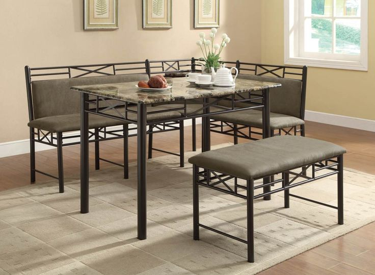 Coaster Company 130040 Slater Corner Nook Dining Set With Faux Marble Top  Table And Bench Seating   Brown