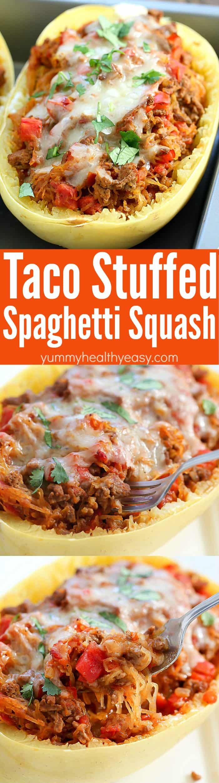Love tacos but hate the carbs? Satisfy your taco craving the lower carb way with this Taco Stuffed Spaghetti Squash! All the yumminess of tacos mixed with spaghetti squash for a filling, low carb dinner the whole family will love! #easydinner #dinnerrecipes #tacotuesday