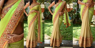 NEW LATEST LEMON COLOR GEORGET & LYCRA DUEDROP SILK EMBROIDERY WORK SAREE Sarees on Shimply.com