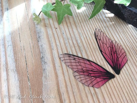 Mini Fairy Wing Set For Crafts Rose Glow Transparent Pink Cicada Style Wing Pair For Crafts Diy Fairy Wings Art Doll Wings Diy Fairy Wings Fairy Wings Wing Earrings