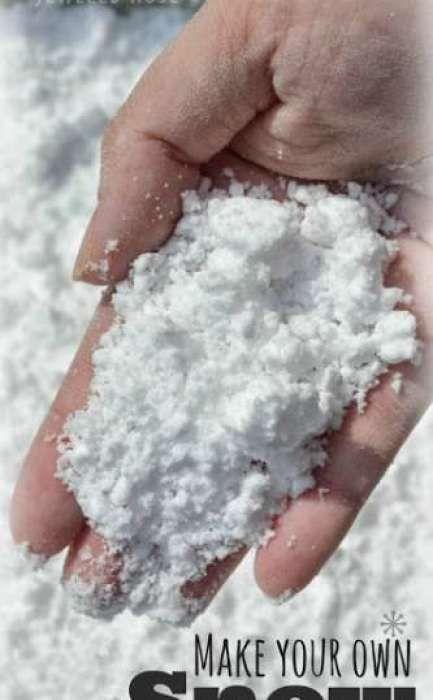 homemade snow recipe- baking soda and shaving creme