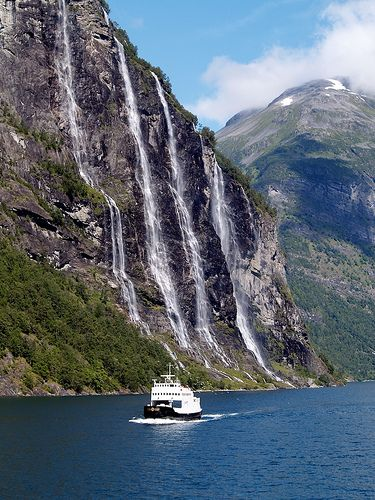 In 2005, I cruised from Bergen to Hammerfest on Hurtigruten, visiting the beautiful Geirangerfjord, pictured. This week, I cruise from Kirkenes to Bergen, in search of the Northern Lights.