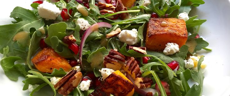 roasted butternut squash, goat cheese, pomegranate and walnut salad ...