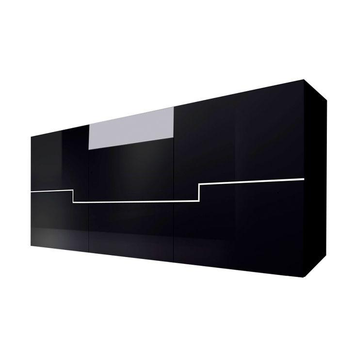 420 CHF Sideboard Twin   Hochglanz Schwarz/Weiß